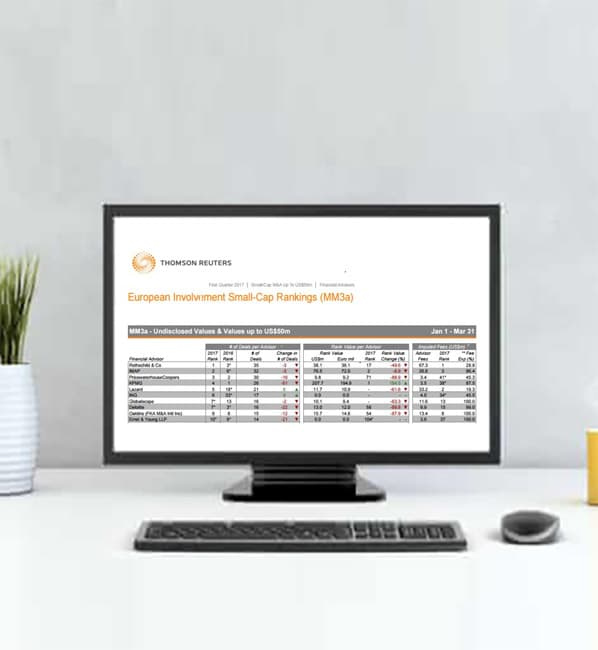 Globalscope is ranked 7th in Europe in the Thomson Reuters League Table